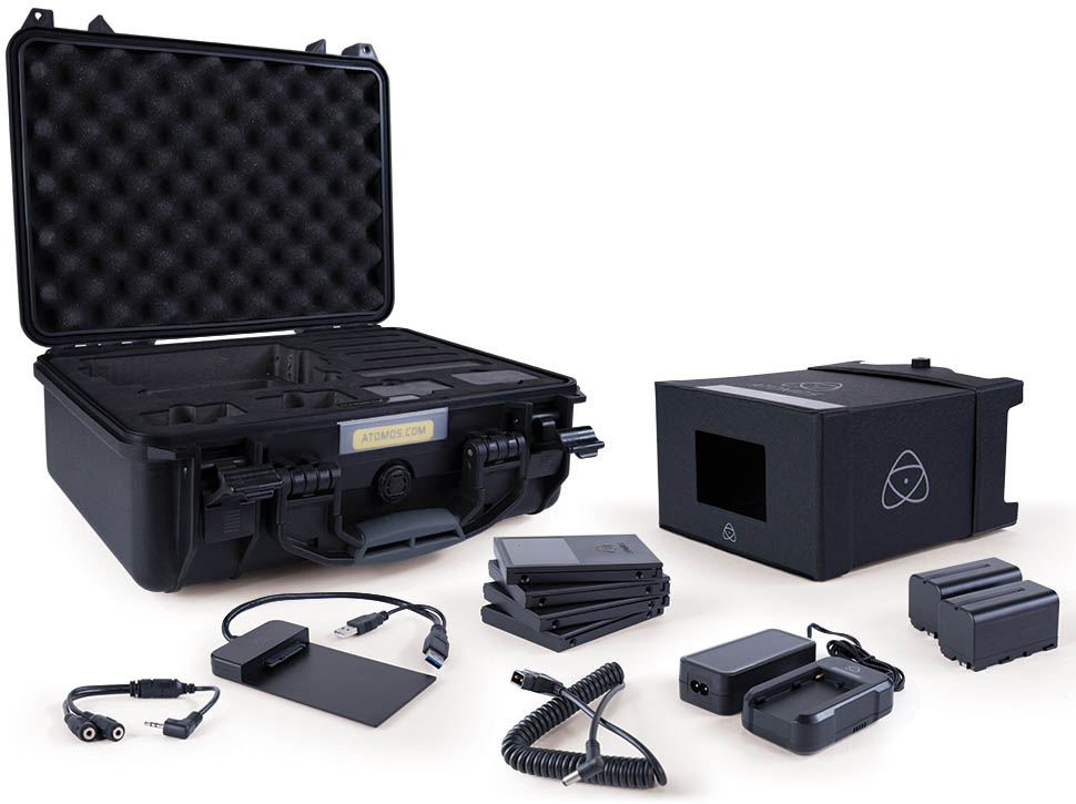 Atomos Full Accessory Kit - ATOMACCKT1 - Sun hood, charger, battery, hard case, docking station