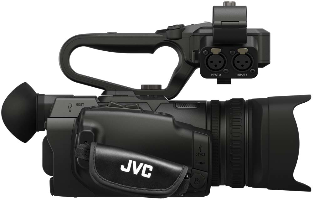 GY-HM200U 4kCam Compact Handheld Camcorder with Integrated 12x Lens - Side
