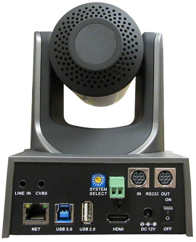 PTZOptics - 12X zoom - USB, HDMI, IP - PT12X-USB-GY-G2 - rear connectors