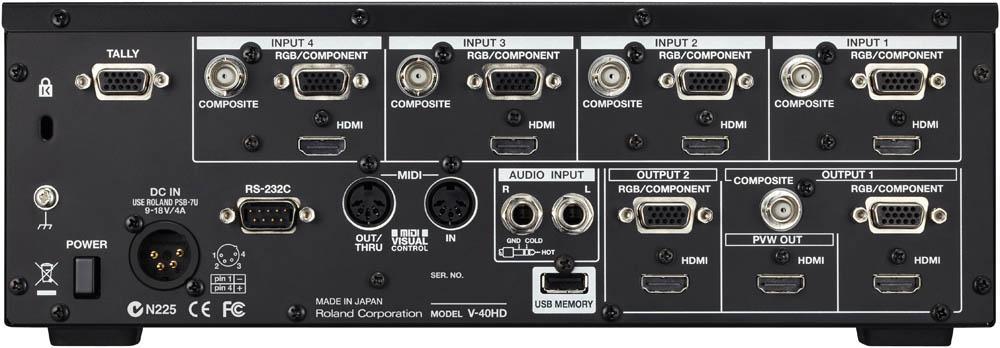 Roland V-40HD Multi-format Video Switcher - Connectors
